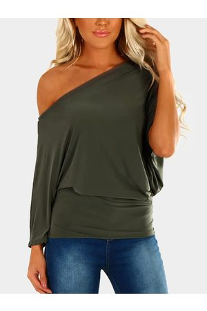 YOINS Army Green Pleated Design One Shoulder Long Sleeves T-shirt