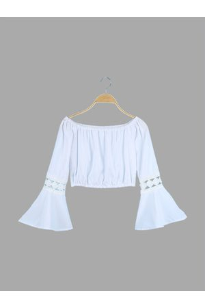 YOINS Off Shoulder Cropped Top With Lace Insert