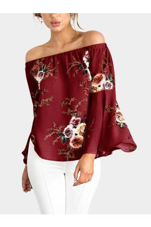 YOINS Chiffon Floral Print Off The Shoulder Long Sleeves Blouses