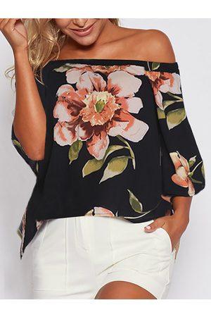 YOINS Slit Design Random Floral Print Off Shoulder Blouse