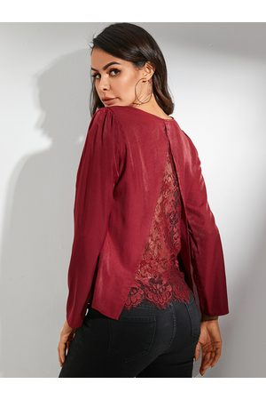 YOINS Burgundy Lace Backless Patchwork Shirt