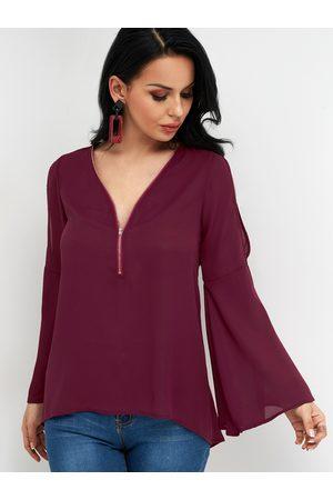 YOINS Zip Front Design V-neck Long Bell Sleeves Blouses With Cold Shoulder Design