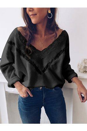 YOINS Lace Insert V-neck Knit Top