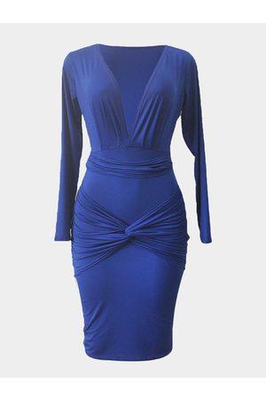 YOINS Sexy Bodycon Dress in Blue