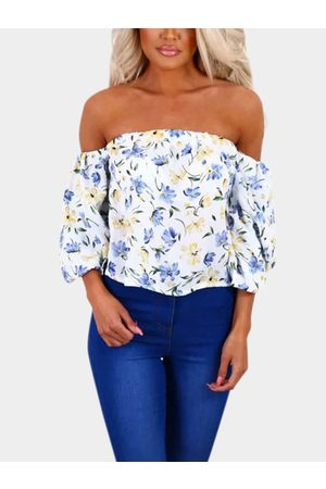 YOINS Sexy Off-the shoulder Random Floral Print Blouse
