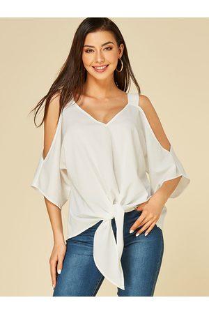 YOINS Women Blouses - Tie-up Design Cold Shoulder Blouse