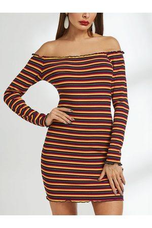 YOINS Color Stripe Off The Shoulder Dress