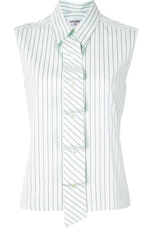 CHANEL 2002 striped sleeveless shirt