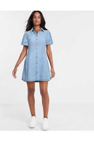 ASOS Soft denim smock shirt dress in midwash