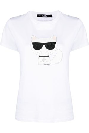 Karl Lagerfeld Embellished cat print T-shirt