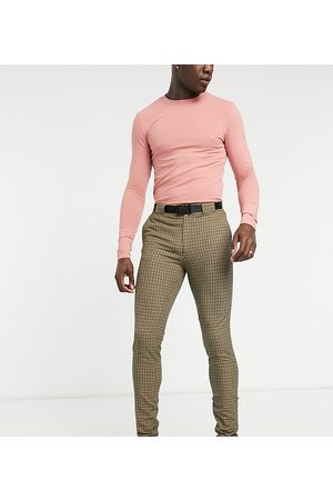 ASOS Tall super skinny smart trouser in micro check and utility belt