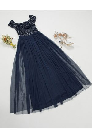 Maya Bridesmaid bardot maxi tulle dress with tonal delicate sequins in