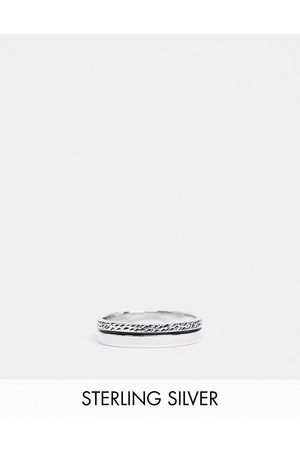 ASOS Sterling band ring with textured design in burnished