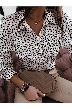 YOINS Heart Polka Dot Ruffle Trim Classic Collar Long Sleeves Blouse