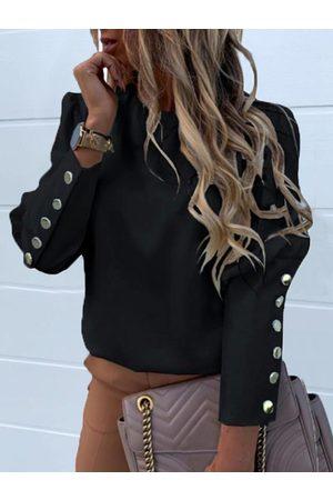 YOINS Black Button Design Crew Neck Long Sleeves Blouse