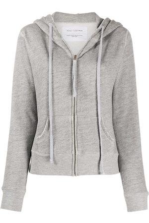 NILI LOTAN Distressed zipped front hoodie