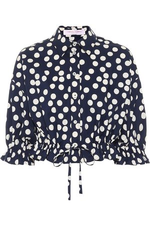 Carolina Herrera Polka-dot stretch-cotton crop top