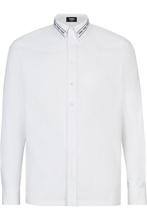 Fendi Embroidered logo collar shirt