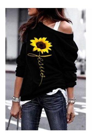 YOINS Sunflower Print Round Neck Long Sleeves Sweatshirt