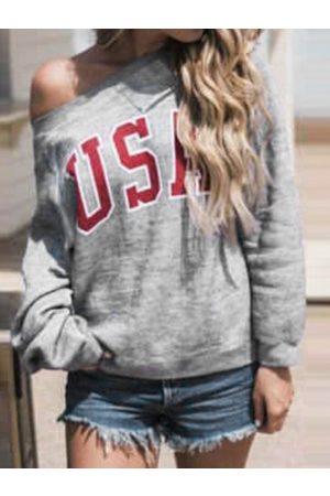 YOINS Letter Round Neck Long Sleeves Sweatshirt