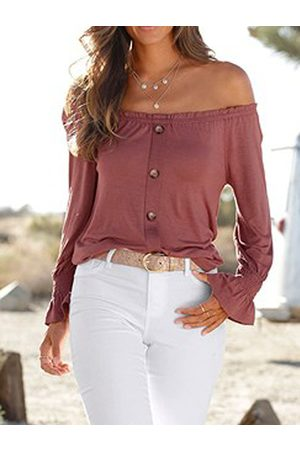 YOINS Pink Front Button Off The Shoulder Long Sleeves Tee