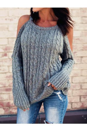 YOINS Grey Cold shoulder Cable Knit Long sleeves Sweater