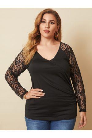 YOINS Plus Size V-neck Wrap Design Lace Long Sleeves Tee