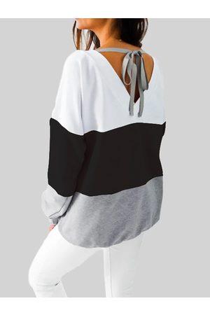 YOINS Black Stripe Tie-up Design Crew Neck Long Sleeves Tee