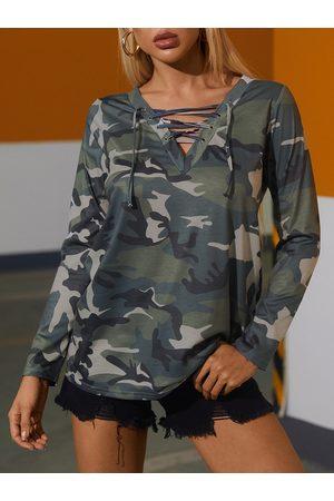 YOINS Camo Criss-cross Lace-up Deep V-neck Long Sleeves Tee