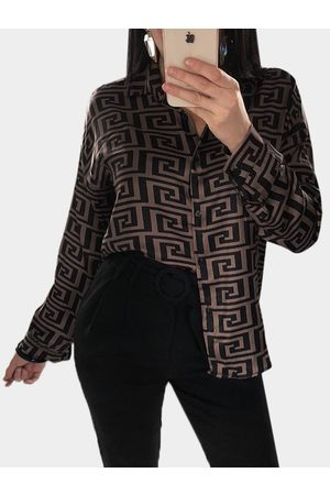 YOINS Dark Geometrical Pattern Classic Collar Long Sleeves Single Breasted Shirt
