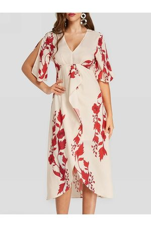 YOINS Random Floral Print Slit Design Midi Dress In Apricot