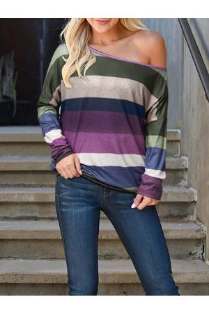 YOINS Purple Color Block Striped One Shoulder Long Sleeves Tee