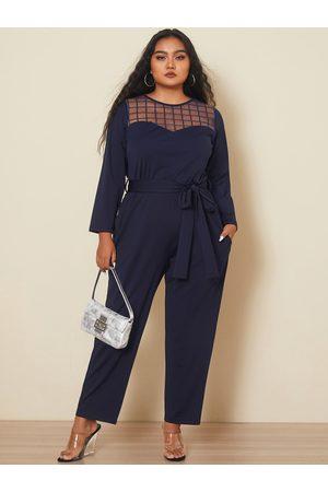 YOINS Plus Size Crew Neck Side Pockets Belt Design Long Sleeves Jumpsuit