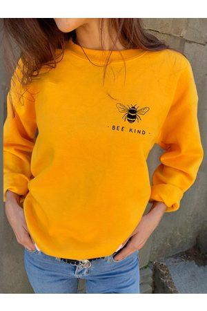 YOINS Bee & Letter Print Crew Neck Long Sleeves Sweatshirt
