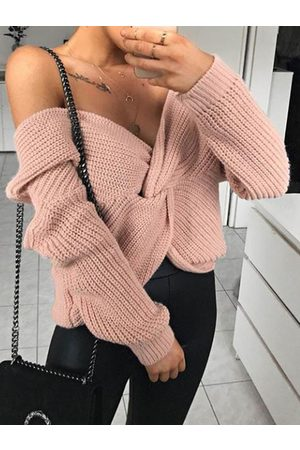 YOINS Pink Cable Knit Twist V-neck Long sleeves Sweater