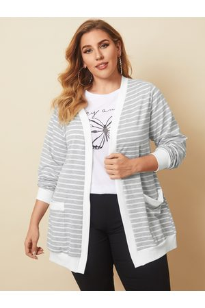 YOINS Plus Size Striped Side Pockets Long Sleeves Cardigan