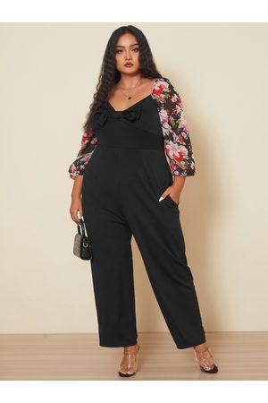 YOINS Plus Size Square Neck Bowknot 3/4 Length Sleeves Jumpsuit