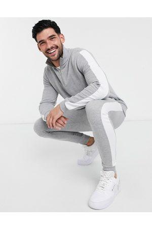 ASOS DESIGN Men Skinny Pants - Tracksuit half zip track top/ skinny jogger with side stripe