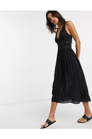 ASOS Tiered midi sundress with lace inserts in