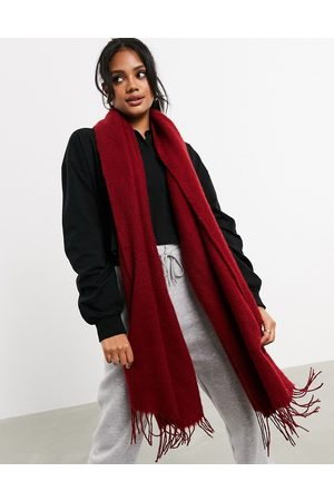 ASOS Supersoft long woven scarf with tassels in deep