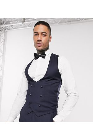 Devils Advocate Tall skinny fit scoop double breasted waistcoat-Navy