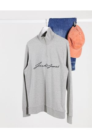 Jack & Jones Quarter zip sweat with chest scripted text