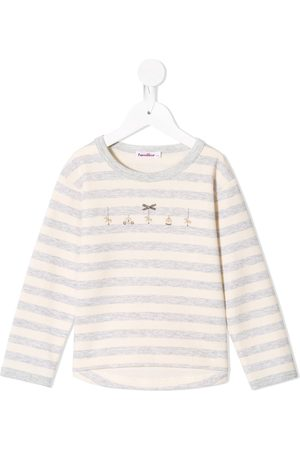 Familiar Embroidered detailing striped T-shirt