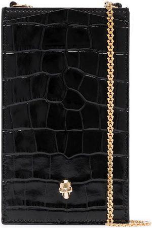 Alexander McQueen Skull mock croc leather phone case