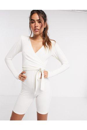 ASOS DESIGN Jersey rib shoulder pad wrap short unitard in ivory