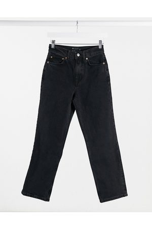 ASOS High rise stretch 'slim' straight leg jeans in washed