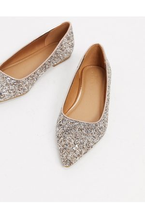 ASOS Lucky pointed ballet flats in rose glitter