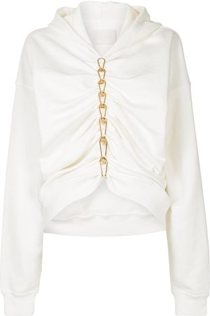 DION LEE Ruched chain-link detailed hoodie