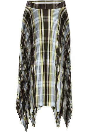 Tory Burch Checked pleated silk midi skirt