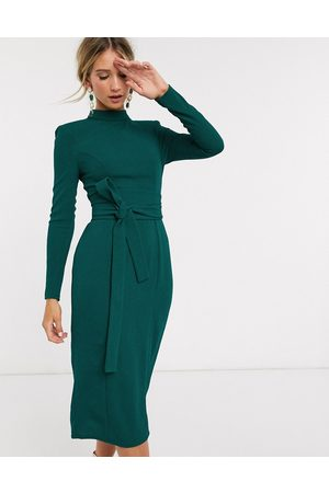ASOS Long sleeve midi dress with obi belt in
